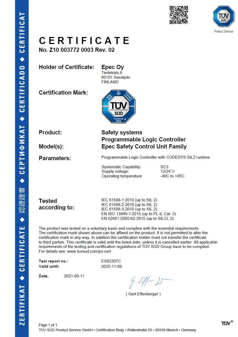 Certificate of Safety Control Unit